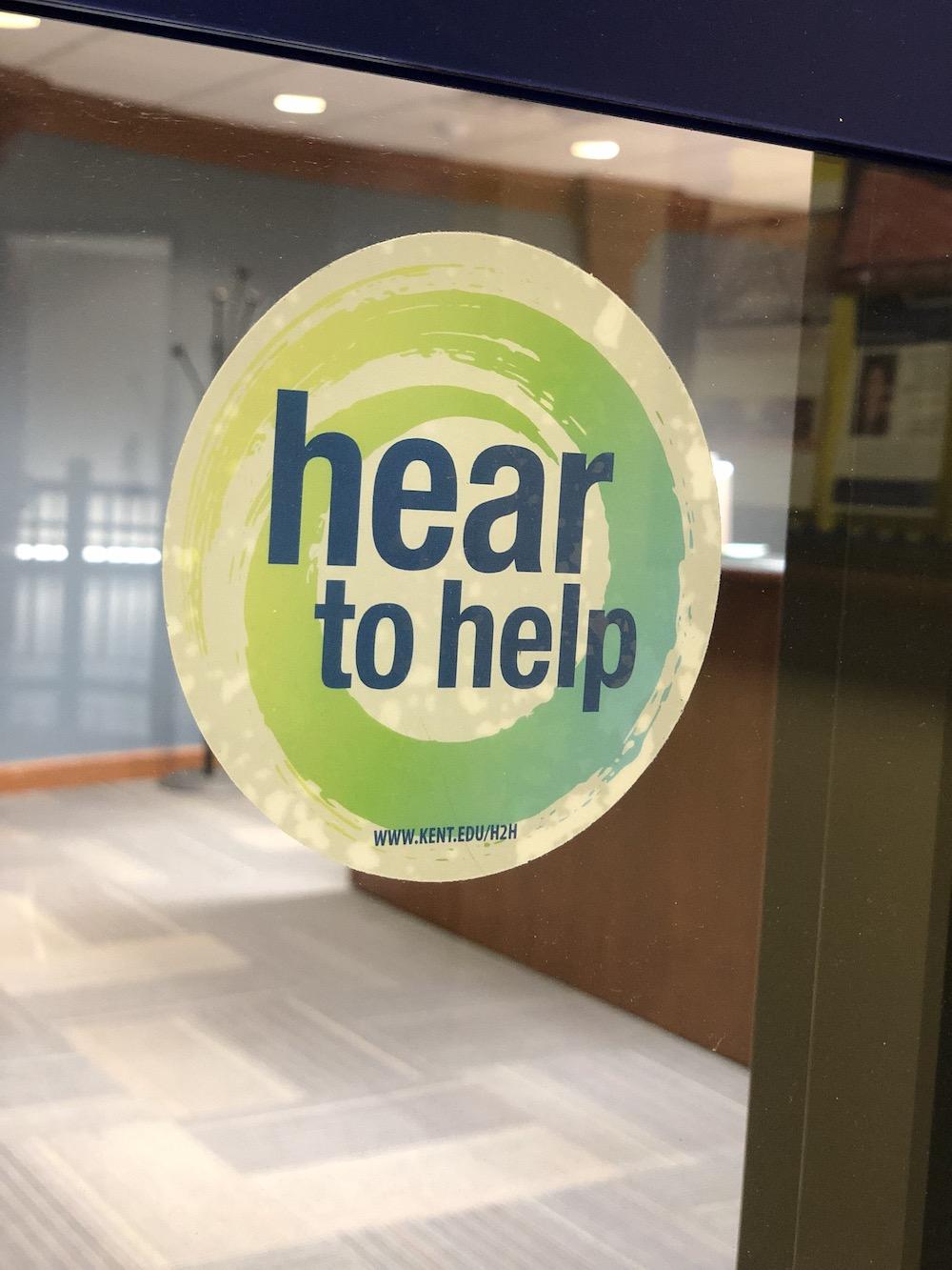 Hear to Help window cling