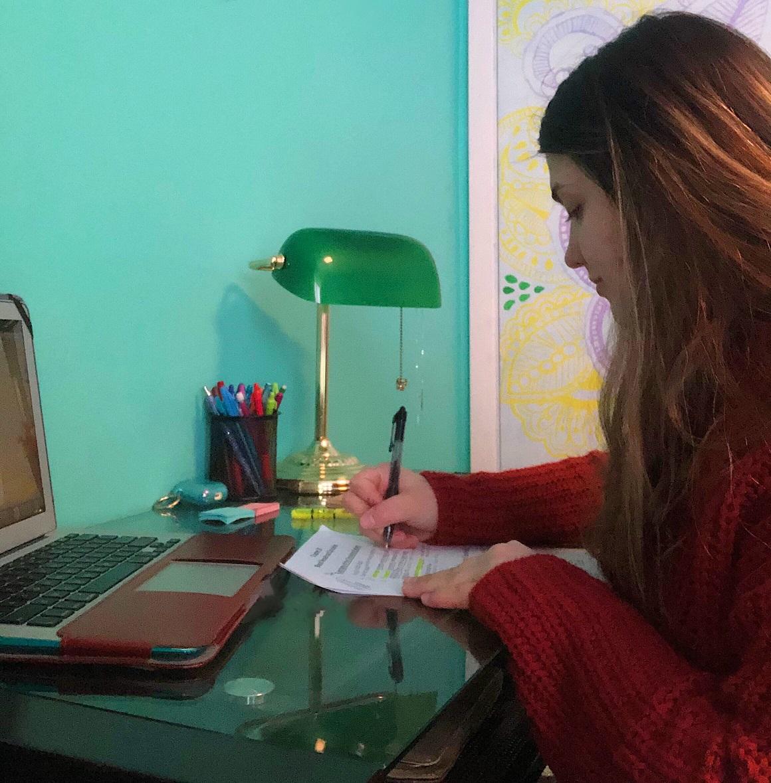 Vladis Alimova studying