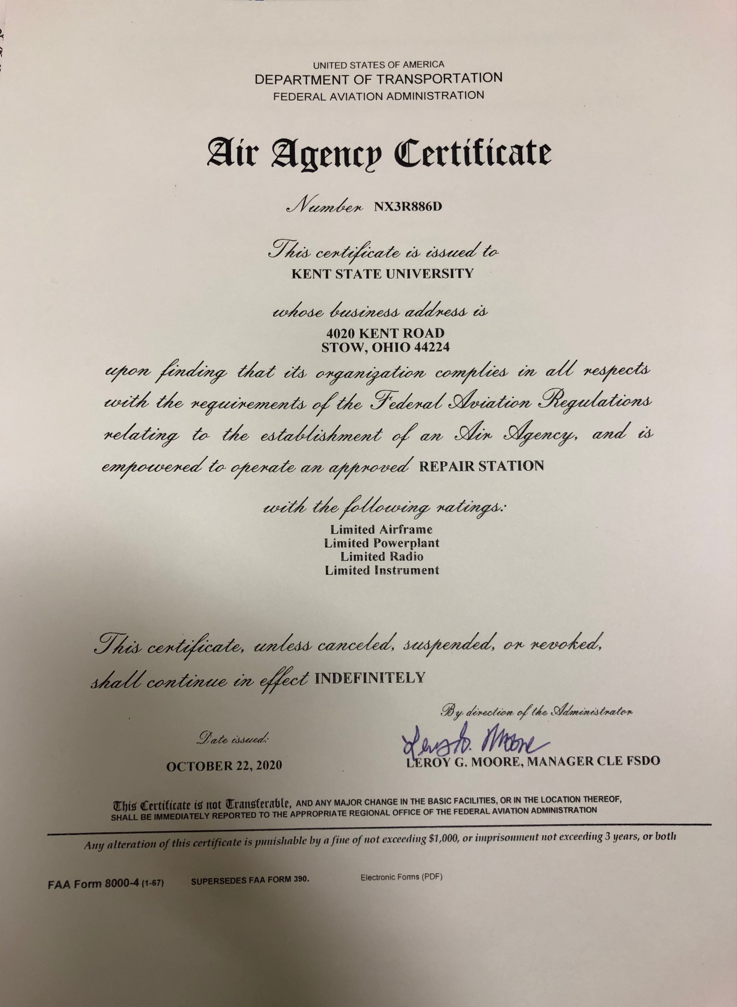 FAA Part 145 Repair Station Certificate