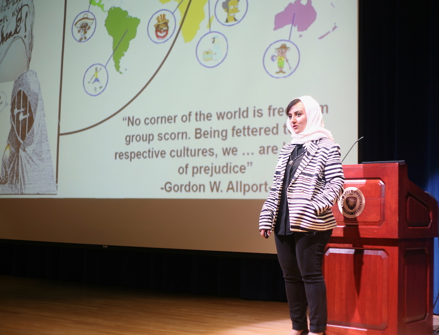 Nisreen Yamany, a doctoral student in English, won first place for her presentation at Kent State's Three Minute Thesis competition.
