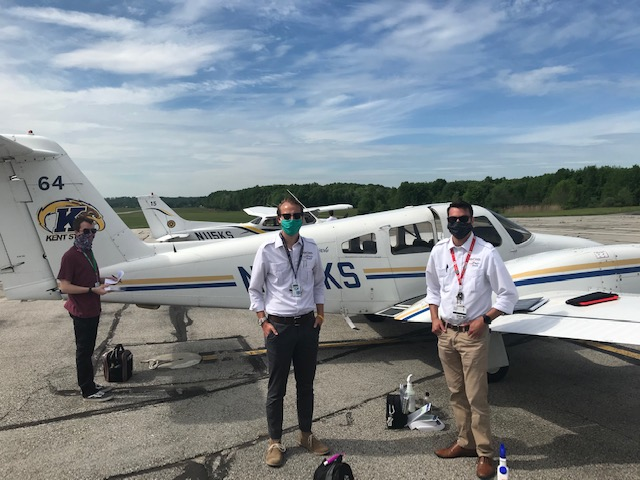 First day back to flying at Kent State University Airport: Eric Eiremann, (left to right) Aaron Hooper, and Mike Fuzer