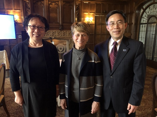 Dr.Du and his wife pictured with president Beverly Warren