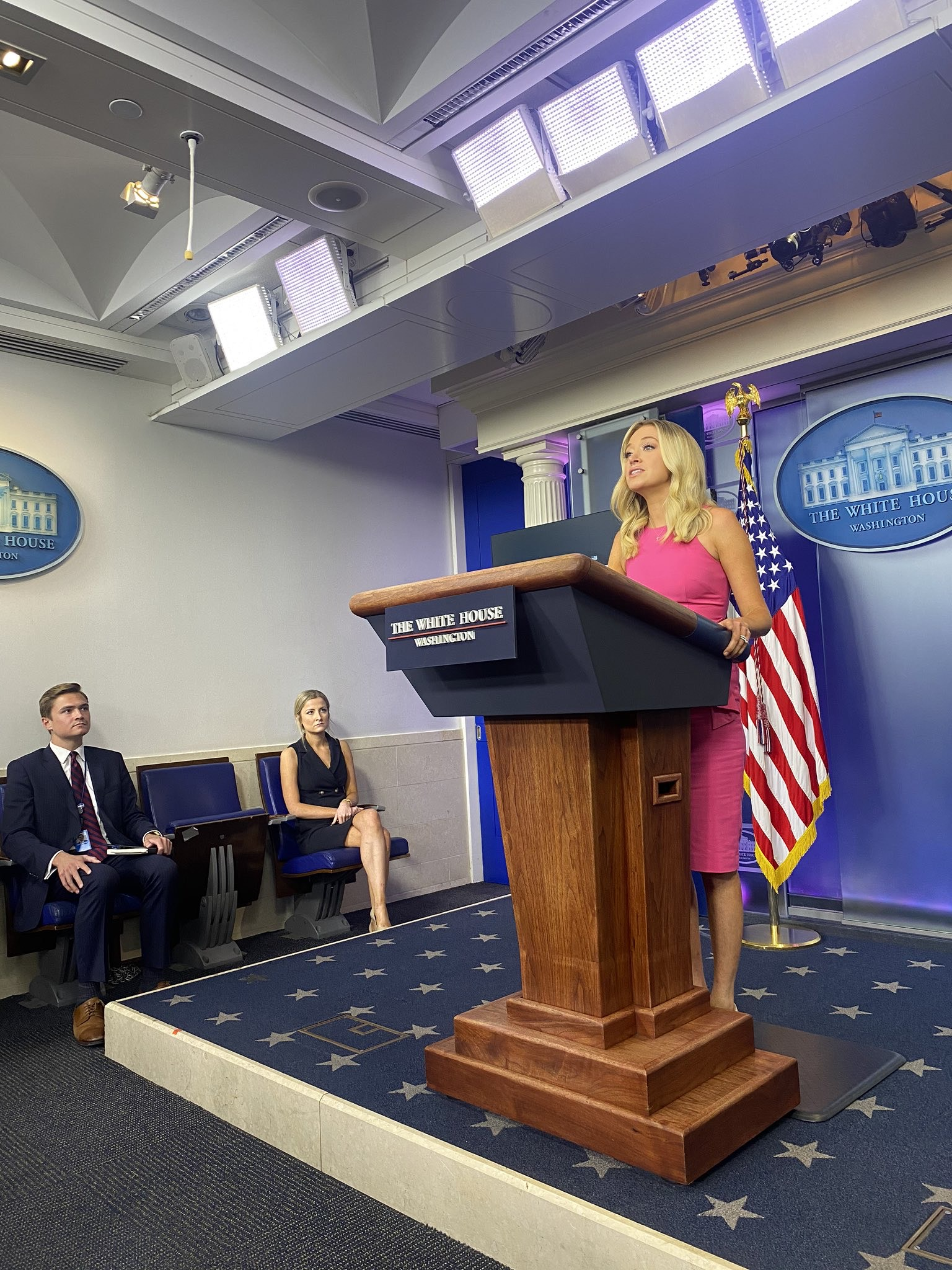 Sarah Matthews (center) listens during a White House press briefing