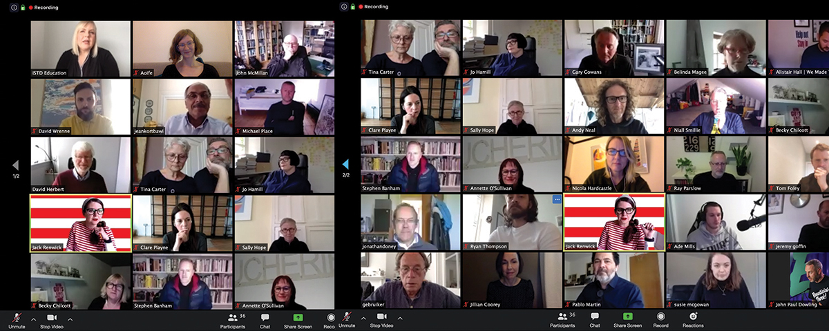Screenshots of the ISTD Main Student Assessment Kick-off Meeting May 1st, spanning time zones from 7am to 11pm, and representing 10 countries and 16 educational institutions.
