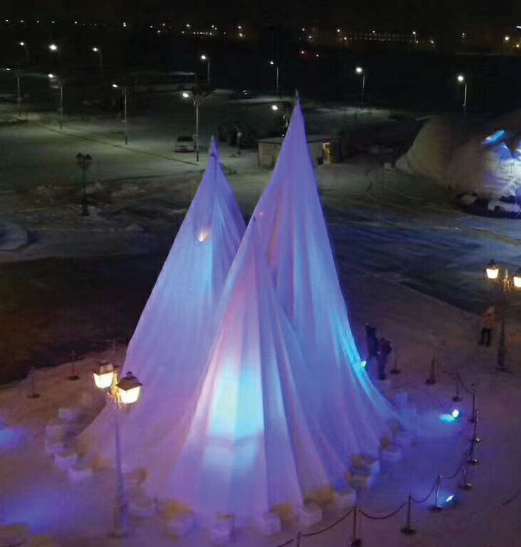 """""""THRICE"""" ice pavilion on site in China."""