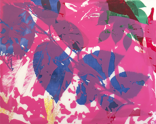 Print of overlapping colorful leaves by student Jessica Hokes