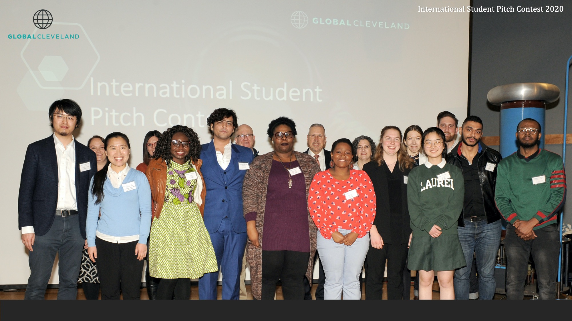 Judges and contestants from the 2021 Global Cleveland International Student Pitch Contest