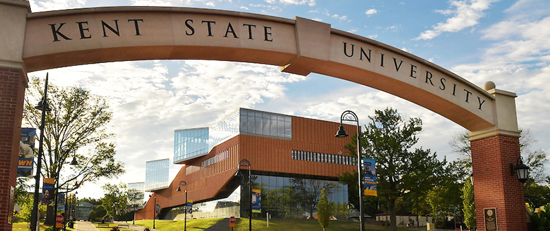 Kent State University Arch with the Architecture Building