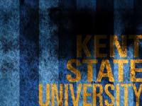 Kent State University on a blue striped background
