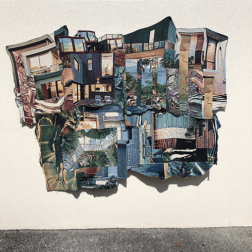 Jacquard weaving by Joe Karlovec of a collage of buildings and architecture