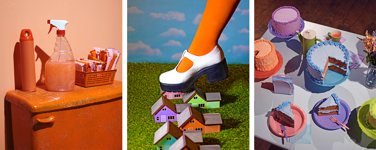 Three photographs of an installation by Kate Rossello depicting colorful household items such as cake.