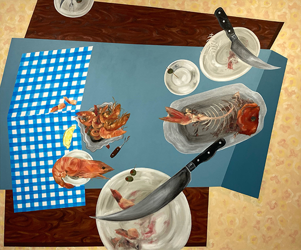 Painting by Katie Butler. Image of fish and shellfish on a dinner table.