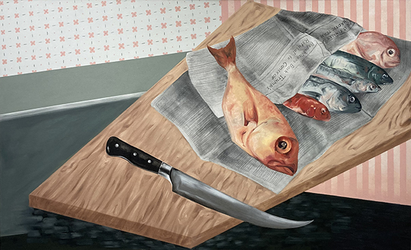 Painting by Katie Butler. Image of fish wrapped in newspaper on a cutting board with a knife.