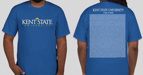 Kent State University Fall 2020 graduation candidate names on a t-shirt.