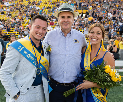 Kent State University Todd Diacon and Homecoming Courts Robby Speaks and Haylee Hoyt