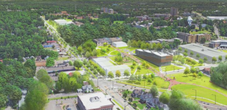 Rendering of proposed City of Kent and Kent State aerial view