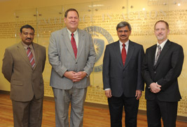 Javed Khan, professor and chairperson of the Department of Computer Science; Ed Mahon, vice president for information services and chief information officer; Satyendra Kumar, associate vice president for research; and Grant McGimpsey, vice president for research