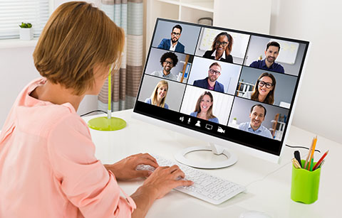 Participant engaging with remote teams