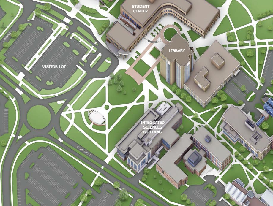Map of Kent State Integrated Sciences Building and surrounds
