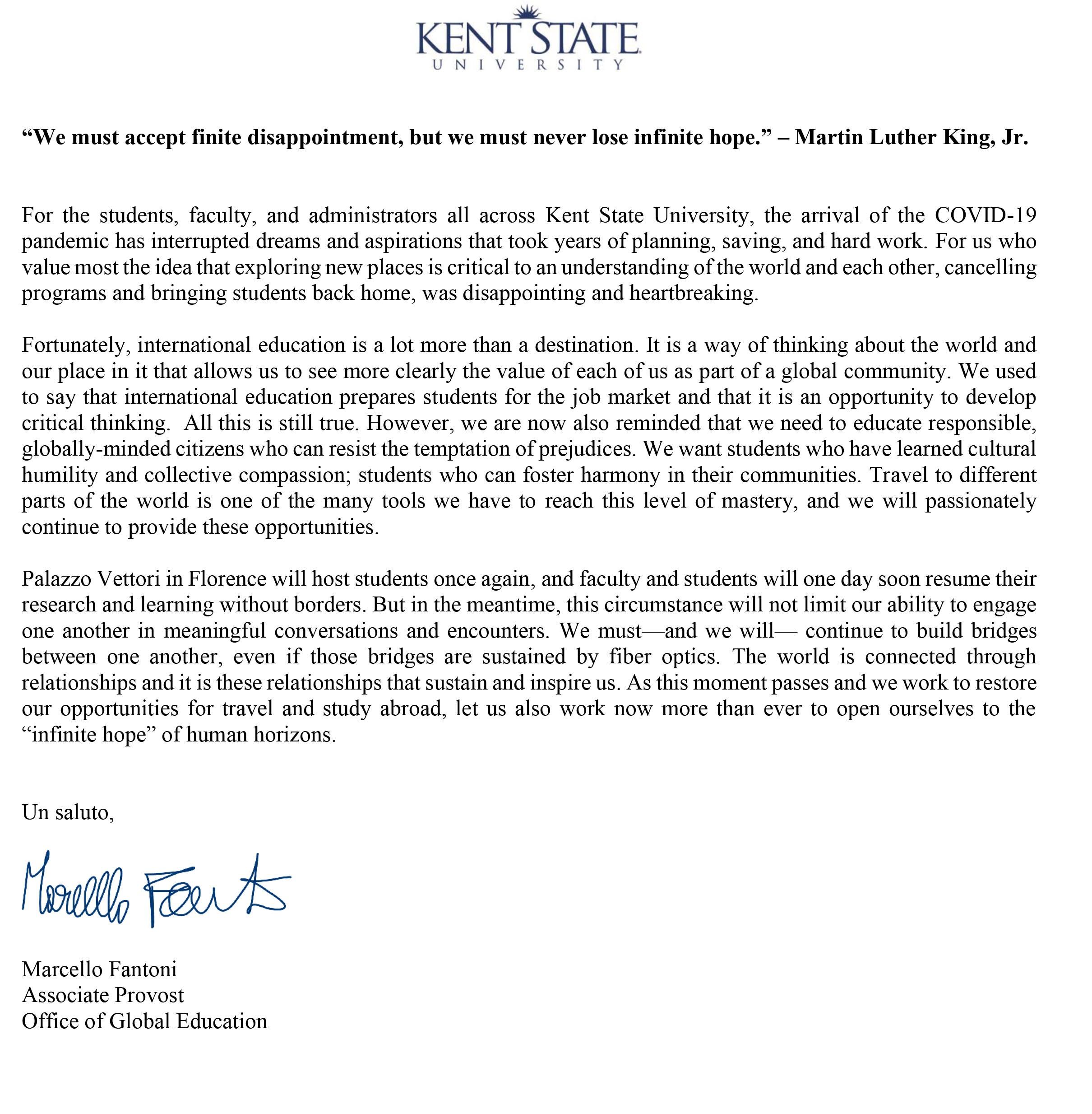 Letter from Associate Provost Marcello Fantoni