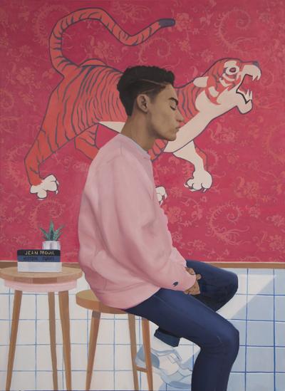 Kade Marsili, Boy Sitting Infront of a Tiger Tapestry, 2018