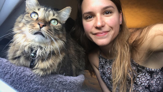 Katelyn McKinney and her cat, Griff.