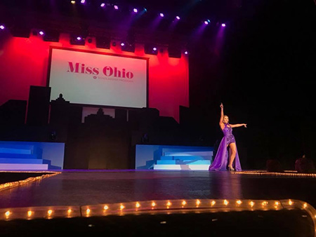 Kent State University student Matti-Lynn Chrisman is shown performing during the talent portion of the Miss Ohio 2018 competition. Ms. Chrisman bested 19 other beauty queens to win the crown. Photo credit: Lou Whitmire, Mansfield News Journal.