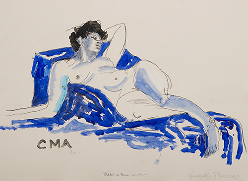 Painting by Patricia Zinsmeister Parker of a nude woman reclining on a blue chair