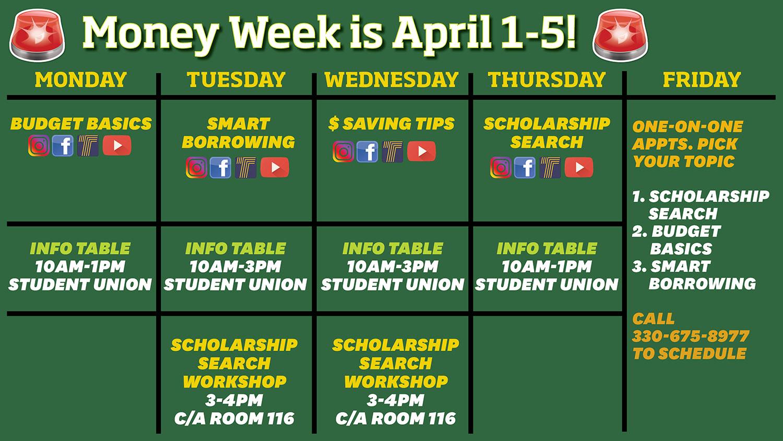 money week schedule
