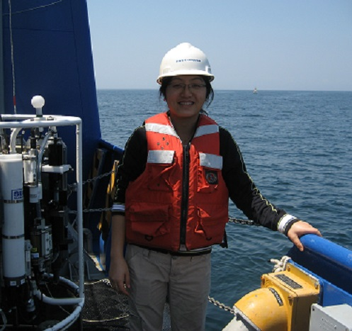 Dr. Mou on a research vessel