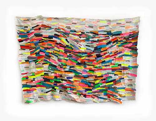 Andrea Myers, Tidal - a multi-colored fabric collage