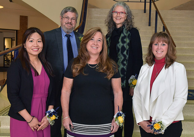 Five of the six winners of the 2018 Distinguished and Outstanding Teaching Awards are pictured in the Kent Student Center.