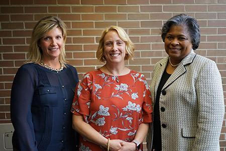 Kent State College of Nursing's first Jonas Nurse Scholar recipient, Kay Gianantonio, (center), stands with Dean Barbara Broome, Ph.D., RN, FAAN (right) and Lisa Onesko, DNP, APRN-BC, director of the DNP program.