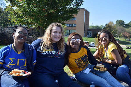 Kent State University students enjoy time together at Kent State's annual DiversiFEST event, which celebrates culture and diversity.