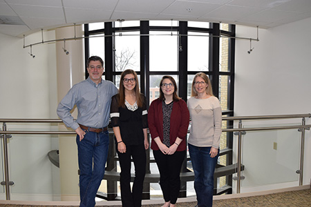 Pictured, from left to right, are John Dunlosky, Ph.D., Kent State graduate students Jessica Janes and Nola Daley, and Katherine Rawson, Ph.D., in Kent Hall.