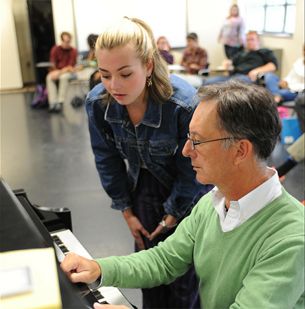 Jonathan Swoboda, associate professor at Kent State University's School of Theatre and Dance, instructs a student.