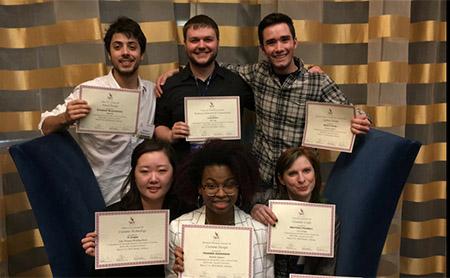 Kent State theatre and dance students celebrate after winning awards at the 2018 Southeastern Theatre Conference Convention.