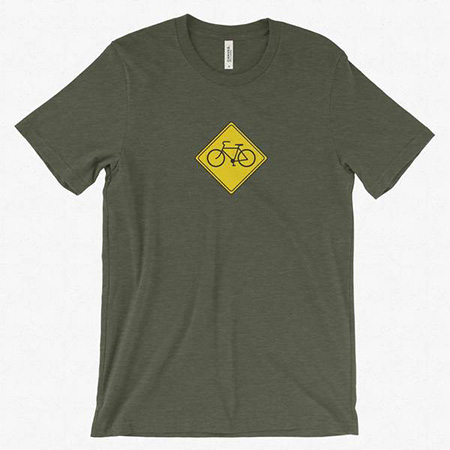 Pictured is one of Evan Laisure's T-shirts for cyclists.