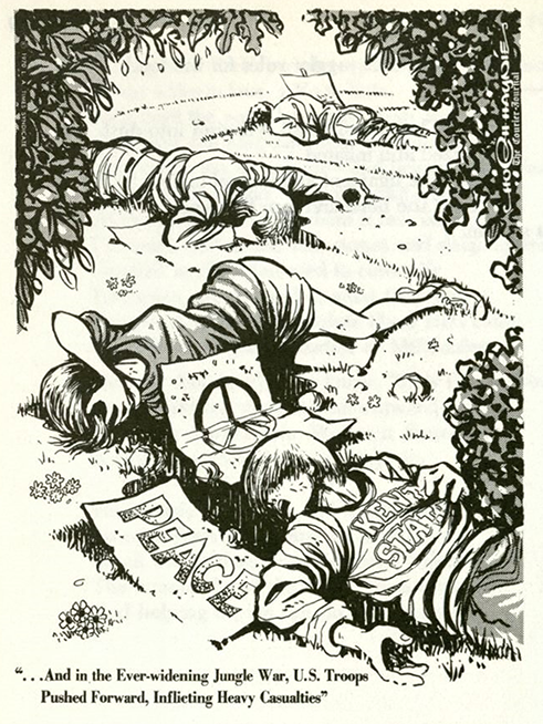Comic drawing of four Kent State students who died on May 4, 1970