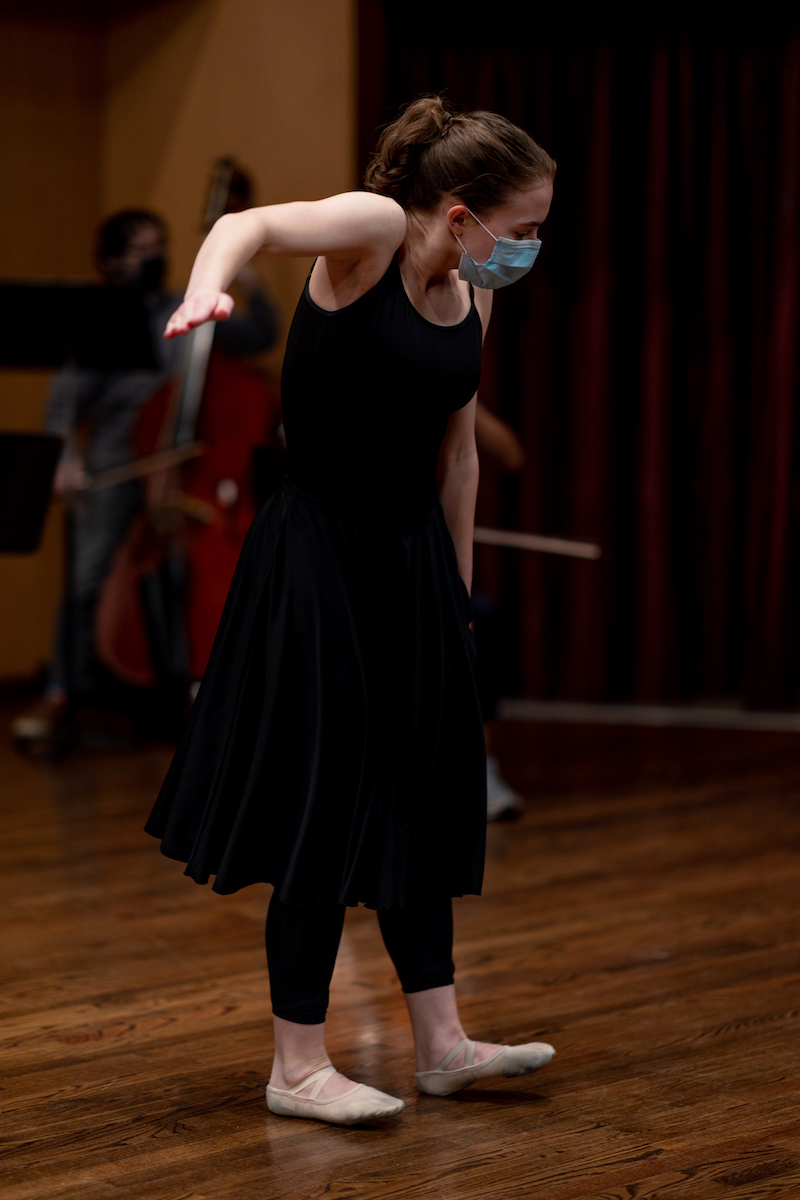 Dance student rehearsing with New Music Ensemble in Ludwig Recital Hall