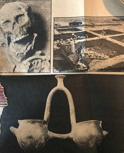 Newspaper clip: An uncovered skull, a ritual vase, and the foundation of a home in the front sector of the village. (Clip provided by Holly Morris)