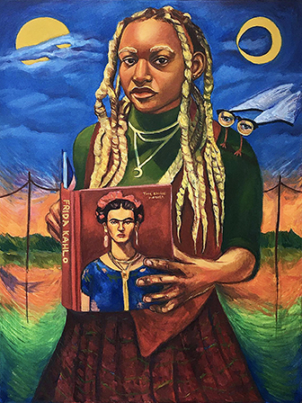 Painting by Nick Lee. A figure of a girl holding a book with Frida Kahlo on the cover.