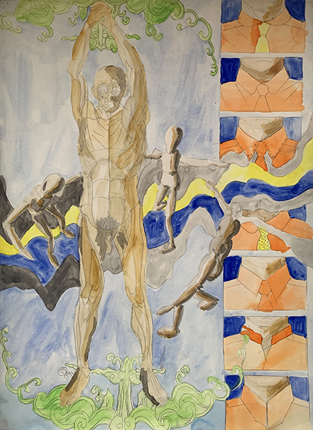 A sketch by Georgio Sabino III that depicts a nude male and six images of a man's collar with a tie on the right.