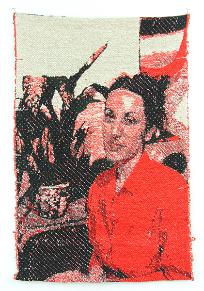 Weaving by Diana Pemberton - Self Portrait as my Mother, a woven image a a woman in a red shirt with plants behind her