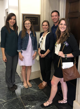 A staff member from the office U.S. Rep. Tim Ryan from Ohio's 13th District (second from left) met with OTA students Amy Pangio , Katelyn McKinney, Ryan Bost and Cassidy Wint.