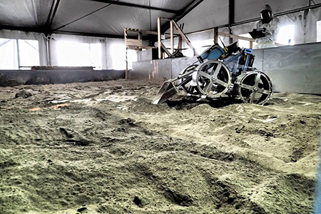 The mining component of the NASA Robotic competition simulates a robot on Mars digging simulated Martian terrain.