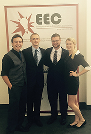 Kent State University students Michael George, Oleg Lougheed, Carleton Whitmore and Julia Kelly pose for a photo at the Entrepreneurship Immersion Week competition.