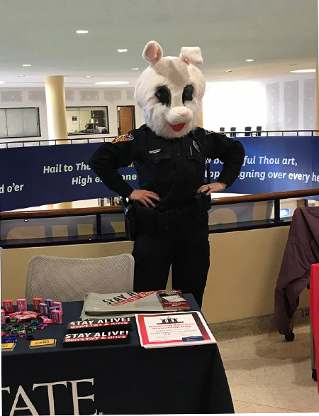 """Kent State Police Officer Tricia Knoles will participate in the """"Chewbacca Test"""" with TV2. She will dress up in a costume to test students on whether they saw her or if they were too busy to notice because they were distracted while walking."""