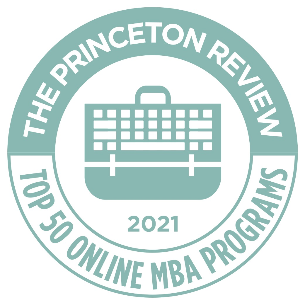 Circle with a briefcase in the center indicating the program is ranked a top 50 online MBA program by The Princeton Review