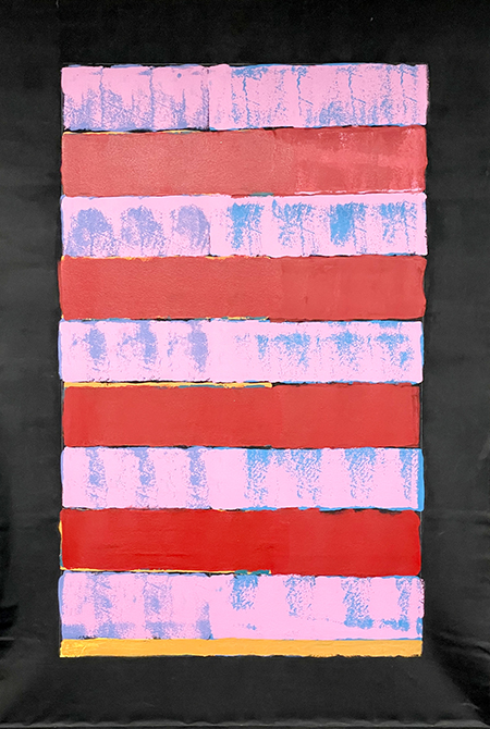 Painting by Patricia Zinsmeister Parker - an homage to Alice Neel, pink and red stripes with a black border